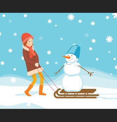 Girl and snowman on the sled vector image vector image
