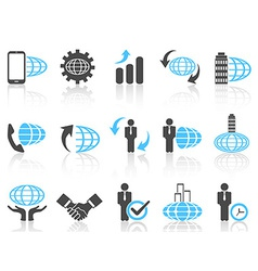 global business icons blue series vector image vector image