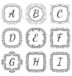 Monogram set hand drawn style in black and white vector image vector image