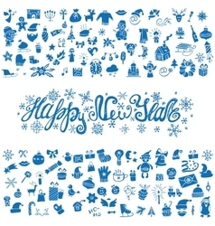 New year greeting cardIcons silhouetteblue vector image