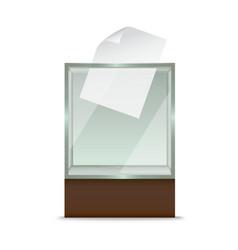 realistic glass ballot box vector image