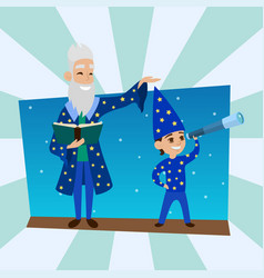 astronomer grandfather with little boy vision vector image vector image