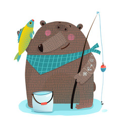 bear fisherman with fishing rod catching fish vector image vector image