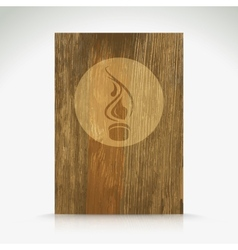 Fire flame burn on wood texture vector image
