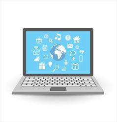 Laptop with application icons vector image vector image