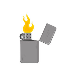 old vintage lighter with fire vector image