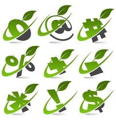 Swoosh Green Symbols Logo Set5 vector image