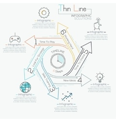 Thin line minimal arrow business cycle template vector image vector image