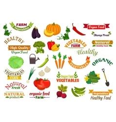 Vegetables vegetarian emblems ribbons set vector image