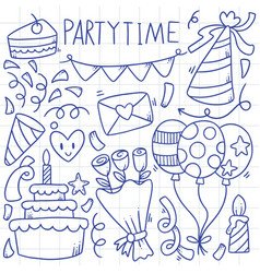 07-09-016 hand drawn party doodle happy birthday vector