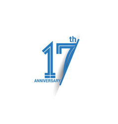 17 anniversary blue cut style isolated on white vector