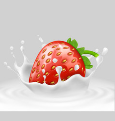 3d realistic strawberry in splashing milk vector image