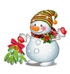 a smiling snowman wearing a striped cap sketch vector image