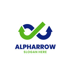 Alpha arrow logo template design creative growth vector