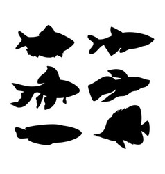 aquarium fish silhouette set vector image