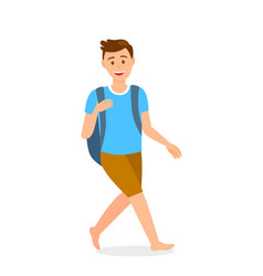 Barefooted man with backpack cartoon character vector