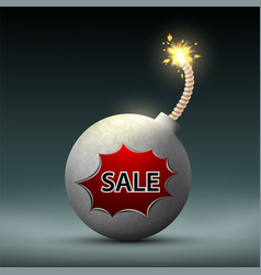bomb with a wick and word sale black friday vector image