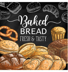 Bread cake cupcake pretzel toast and challah vector