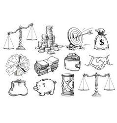 Business set scales stack coins sack vector