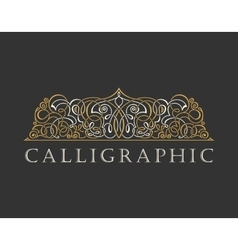 Calligraphic Luxury logo Emblem ornate decor vector image