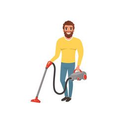 Cartoon character of smiling man with vacuum vector