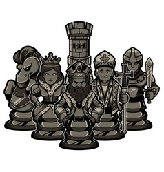 chess team black vector image
