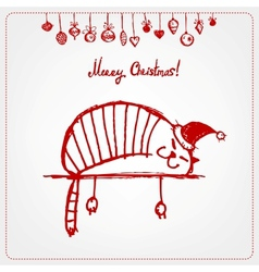 Christmas card funny santa cat for your design vector
