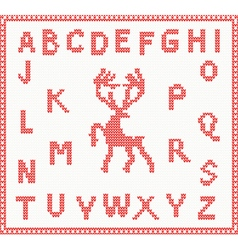 Christmas Knitted Font with Deer vector