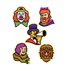 circus performers and freaks mascot collection vector image