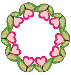 colorful wreath poster with heart plants and leafs vector image