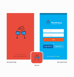 Company cheers splash screen and login page vector