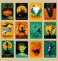 Complete set of retro posters for Halloween party vector