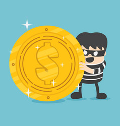 concept a thief with big coin stack design vector image