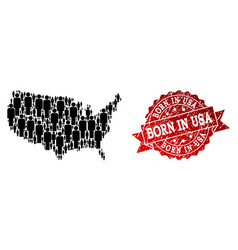 crowd collage of mosaic map of usa and textured vector image