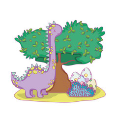 cute apatosaurus with tree in the landscape vector image