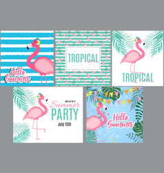 cute pink flamingo summer collection set vector image