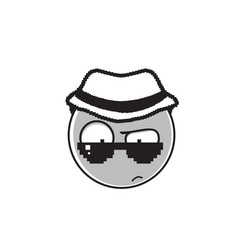 Detective cartoon face wear sunglasses and hat vector