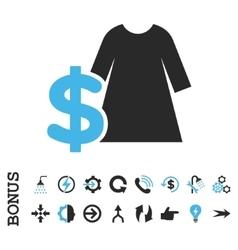 Dress Price Flat Icon With Bonus vector