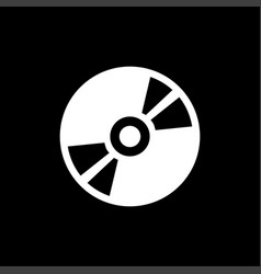 dvd or cd icon on black background black flat vector image