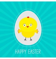 Easter chicken inside egg sunburst card vector