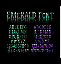 Emerald effect letters and numbers vector