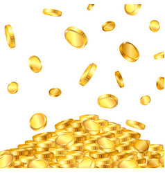 falling from top a lot dollar gold coins vector image