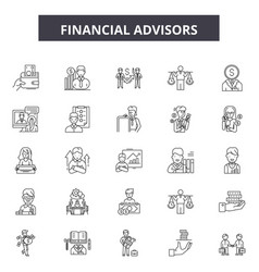 Financial advisors line icons signs set vector