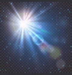flash burst of star light with blur and lens flare vector image
