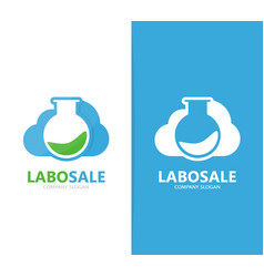 flask and cloud logo combination vector image
