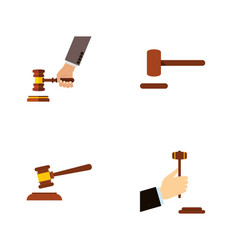 Flat icon hammer set of law crime defense and vector
