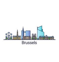 flat line brussels banner vector image
