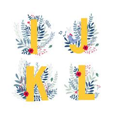 floral alphabet letter i j k l set vector image