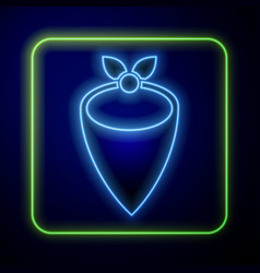 Glowing neon cowboy bandana icon isolated on blue vector