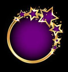 golden beautiful stars festive frame vector image
